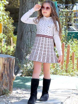 بلوز بافت دخترانه دامنی شطرنجی ۳۷۳ بیتامد